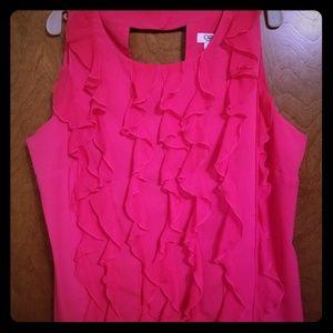 Hot pink sleeveless ruffle front blouse